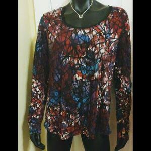 Simply Vera, Vera Wang XL stain glass blouse EUC
